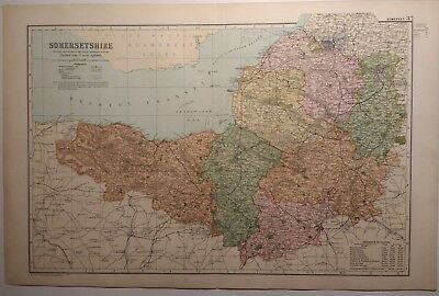Antique map of Somerset by G.W.Bacon 1895