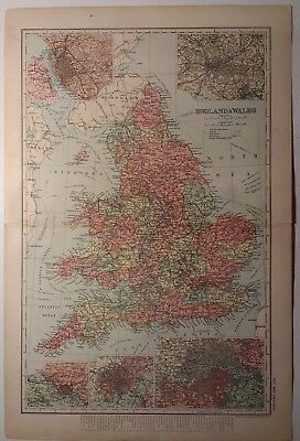 Antique map of England and Wales by G.W.Bacon 1895