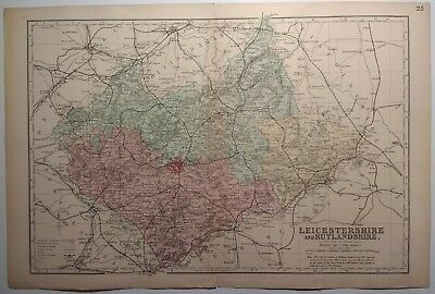 Antique map of Leicestershire and Rutland by G.W.Bacon 1895