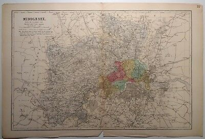 Antique map of Middlesex by G.W.Bacon 1895