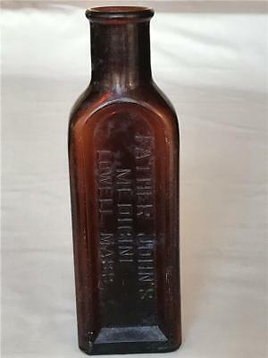 Antique Amber Glass Bottle Father John's Medicine Lowell Mass Large Size