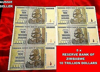 10 Trillion  Zimbabwe Dollars 5 Unc Real Banknotes Note 2008 Aa 100 T/S Currency