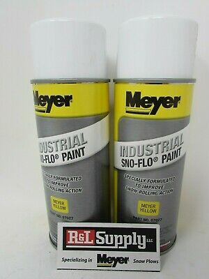 2 Cans Genuine Meyer Snow Plow Yellow Snow Flo Paint 07027 08677