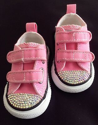 6657c1dd6dd6 BABY GIRLS PINK Crystal Bling Converse Trainers Size 2