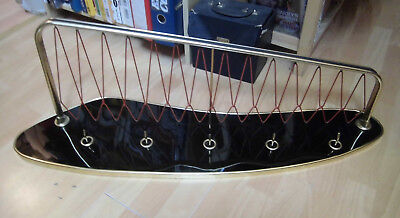 1950s 1960s Cloakroom Wall Coat Rack Mounting Lounge Brass mid Century 60s