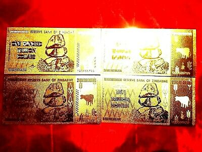 4 Zimbabwe Banknote 24K Gold Trillion 10 20 50 100 Trillion $  Full Set Note O