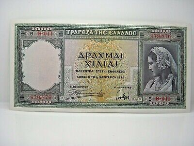 Greece 1000 Drachmai Jan 1-1939 Unc