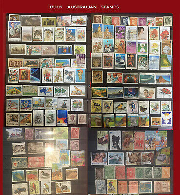 160 + POSTAGE STAMPS AUSTRALIAN BULK LOT ALL DIFfERENT USED EARLY DEC & PRE-DEC