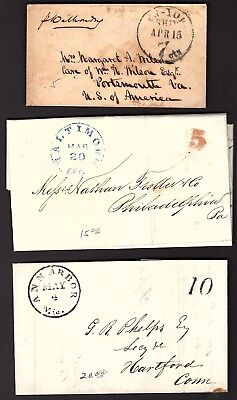 6 Very Nice Stampless Covers from 6 Different States  B211