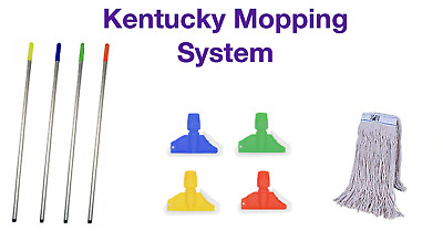 MEGA PACK Kentucky Mop System Colour Code Red Blue Yellow Green Handle Clip Head