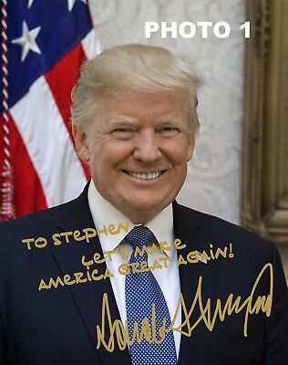 Personalized President Donald Trump Gold Autographed 8x10 Photo