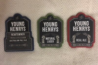 Young Henry's Tap Beer Decals Metal Tops Badges Free Postage