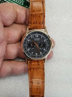 Citizen Eco-Drive Black Dial Day & Date Brown Leather Men's Watch Ao9003-08E New