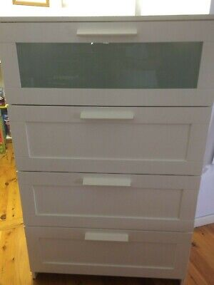 Ikea Brimnes Chest Of 4 Drawers Whitefrosted Glass78x124 Cm