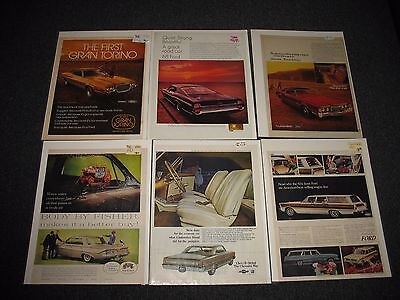 VINTAGE CAR ADS 1960s 70s Chevy / Ford Lot of 6