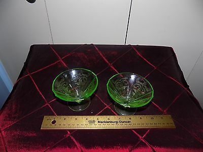 Vintage Green Depression Glass pair of pudding cups