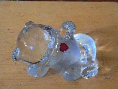 Vintage crystal bear with red heart