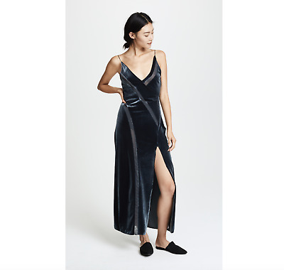 561709c1fc375c NWT FREE PEOPLE Spliced Velvet Maxi Dress Intimately Slip Dress Gown  Charcoal-S