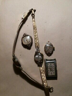 LOT OF 5 VINTAGE ANTIQUE LADY GOLD FILLED WRIST WATCHES and bands