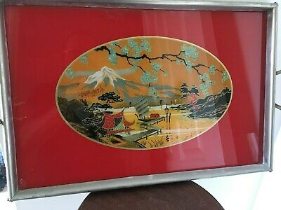 Vintage/Mid Century Japanese Reverse Painted Glass Serving Tray