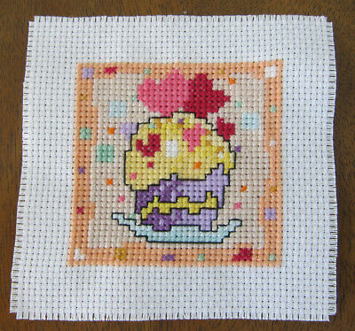 CROSS stitch PIECE cup CAKE hearts BIRTHDAY happy COLOURED craft HAND made AIDA