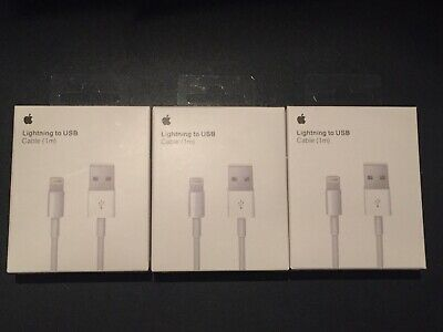(3) New OEM Original Lightning Usb Charger Cables For Apple iPhone X,8,7,6s,6,5s