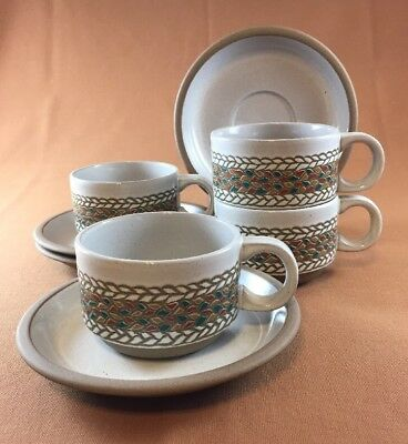 4 Flat cup and saucer sets MIDWINTER STONEWARE BRAID PATTERN MADE IN ENGLAND