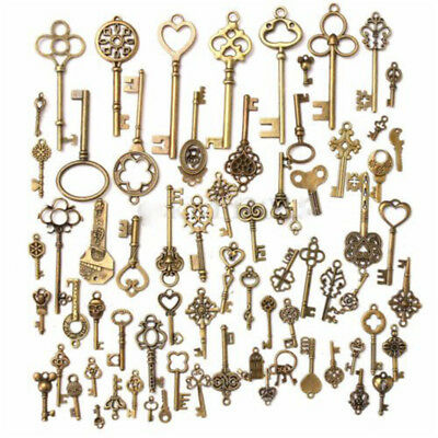 70X Antique Vintage Old Look Bronze Skeleton Keys Fancy Heart Bow Pendant Decor