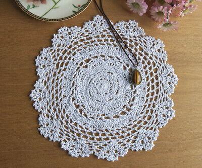 Cotton Hand Crochet Doily Crocheted Doilies Placemat Mat Round 30CM White FP04