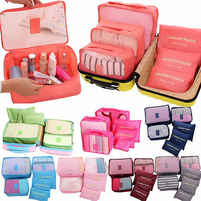 6PCS Waterproof Clothes Bags Travel Storage Packing Cube Luggage Organizer Pouch