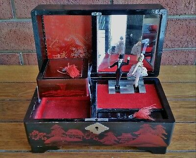Antique Vintage Retro Wooden Musical Jewellery Red & Black Box Japanese Jewelry