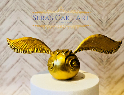 Harry Potter Golden Snitch fondant Birthday party cake topper hogwarts quidditch