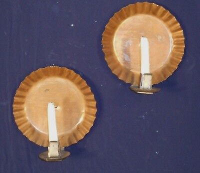 PAIR EARLY 20th CENTURY ARTS+CRAFTS PIECRUST EDGE COPPER BACK CANDLE SCONCES