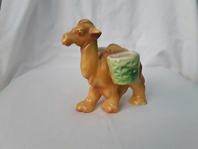 Vintage Retro Ceramic Pottery Camel Salt & Pepper Shaker Holder Only!!