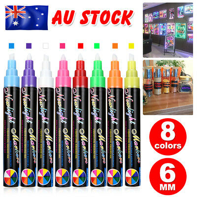8 Colours Dual Pen Marker Nib 6mm Neon Liquid Chalk Blackboard Glass Window