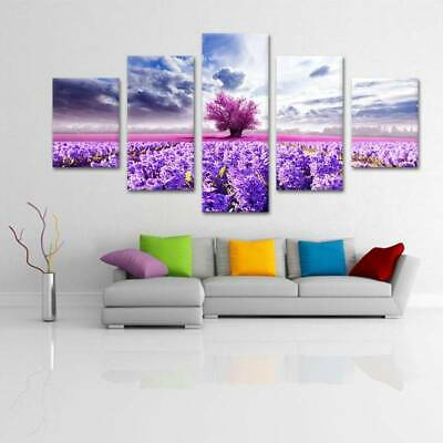 Spray Printed Unframed Violet Fields On Canvas Wall Decor Art Oil Painting
