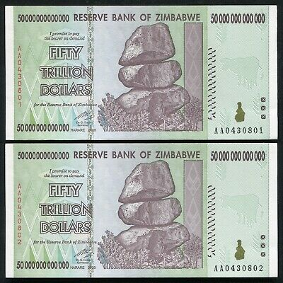 2 Consecutive 2008 50 Trillion Dollars Zimbabwe, Aa P-90 Unc 100 Trillion Series