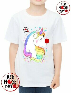 Red Nose Day 2019 Comic Relief XS, S, M, L, XL, Unicorn girls t shirt equestrian