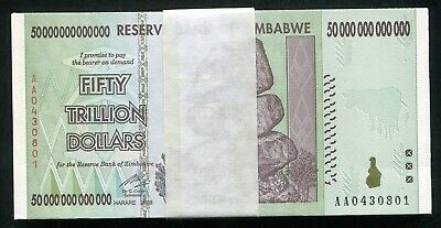 50 Consecutive 2008 50 Trillion Dollars Zimbabwe, Aa P90 Unc 100 Trillion Series