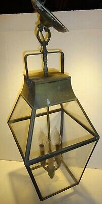Antique Carriage Light Hanging Ceiling Electric Lighting 3 Socket copper Glass