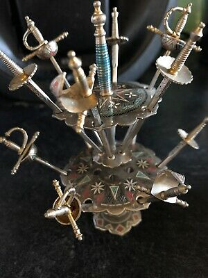 Unusual Vintage Toledo Cocktail sticks With Decorated Stand 12 Sword Set Retro