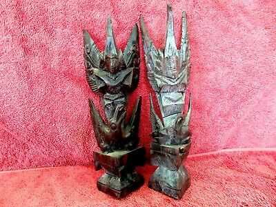 ANTIQUE  PAIR  ASIAN  HAND CARVED  EBONY WOOD  FIGURINES  25cm