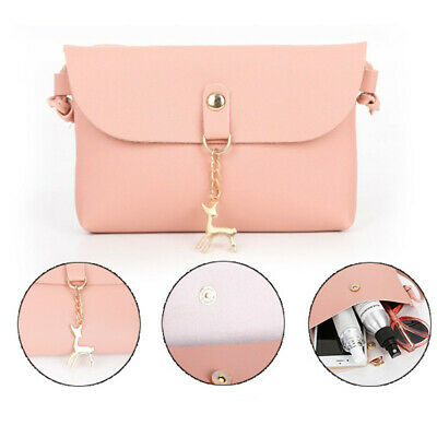 Women Girls Candy Color Cell Phone Pocket PU Leather Casual Shoulder Bag N7