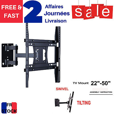 """Support TV mural inclinable et Pivotant pour 26""""-55"""" 66-138cm LED LCD- 32 42 52"""