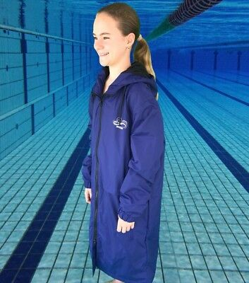 Swim Parka New Wazsup Navy Blue With Black XS  (Pool deck coat, swim jacket)