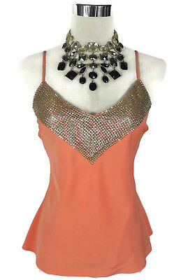 ENDLESS Top - Peach Silver Vintage Retro Style Cami Singlet M/L/10/12