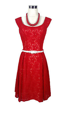 REVIEW Dress - 1950s/60s Vintage Retro Style Red White Belt Floral Lace Boat - 6