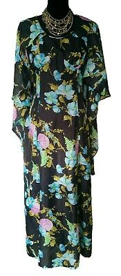 BELVERA 1970s Dress - Floral Vintage Retro Hostess Maxi Black Blue Green - 8/10
