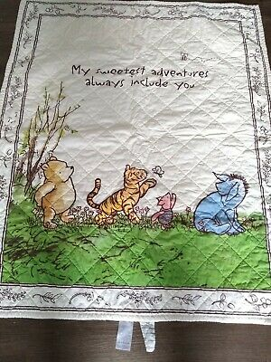 Disney Winnie the Pooh BABY QUILT MY SWEETEST ADVENTURES ALWAYS INCLUDE YOU