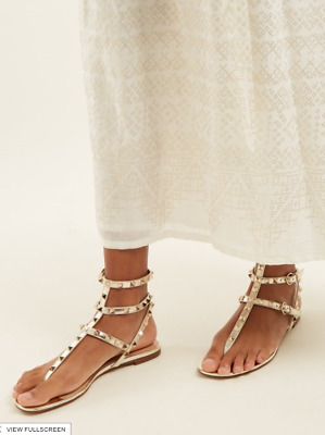 ae0e5f468aa Valentino Garavani Rockstud Metallic Leather Flat Gladiator Sandals Size 38